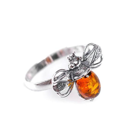 BUMBLE BEE RING IN SILVER AND AMBER