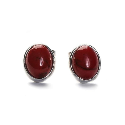 Small Oval Stud Earrings In Silver And Coral