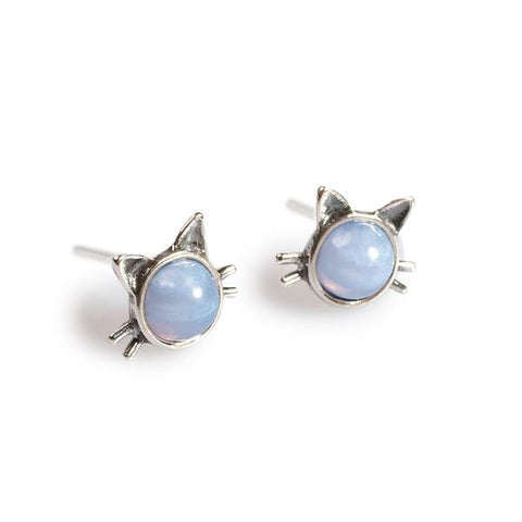 blue lace agate cat stud earrings