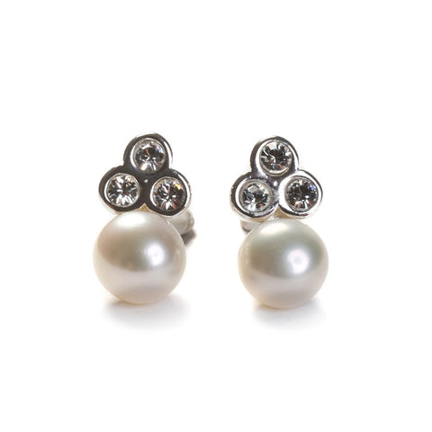 pearl, cubic zirconia and silver earrings for weddings