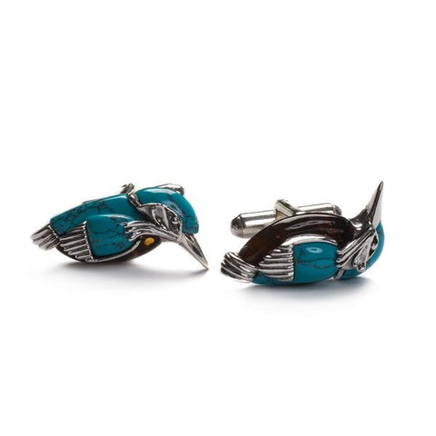 KINGFISHER BIRD CUFFLINKS IN SILVER, TURQUOISE AND AMBER