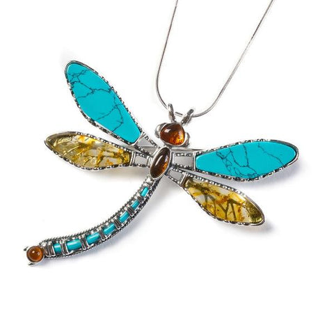 EXOTIC DRAGONFLY NECKLACE IN SILVER, TURQUOISE AND AMBER