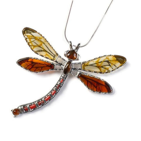 Exotic Dragonfly Necklace In Silver And Amber