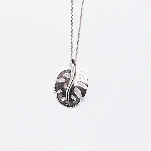 Silver Split Palm Leaf Necklace