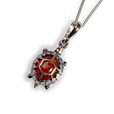 Cognac Amber Tiny Terrapin Necklace