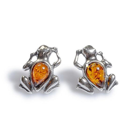 Friendly Frog Earrings In Cognac Amber