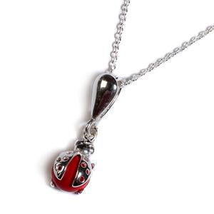 Ladybird Necklace In Silver And Coral