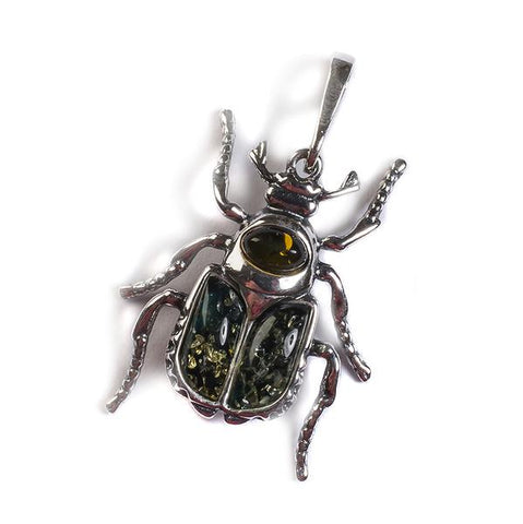 Noble Chafer Beetle Necklace In Silver And Amber