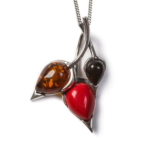 Beech Leaf Necklace In Silver, Coral and Amber