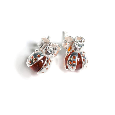 Little Ladybird Stud Earrings in Silver and Amber