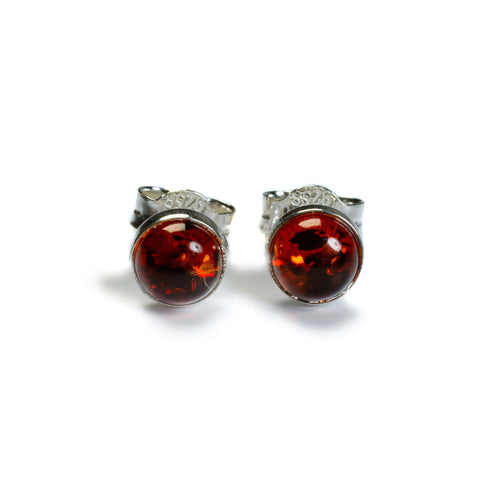 Small Round Stud Earrings in Silver and Amber