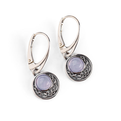 Celtic Circle Earrings in Silver and Blue Lace Agate