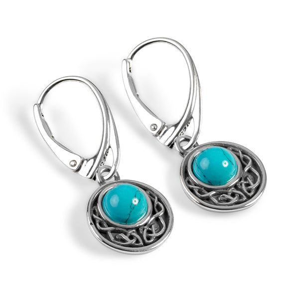 Celtic Circle Earrings in Silver and Turquoise