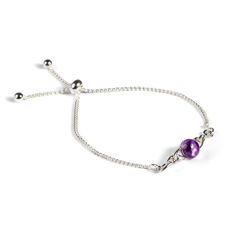 Celtic Style Adjustable Friendship Bracelet in Silver and Amethyst