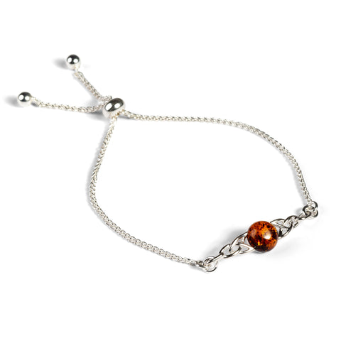 Celtic Style Adjustable Friendship Bracelet in Silver and Amber