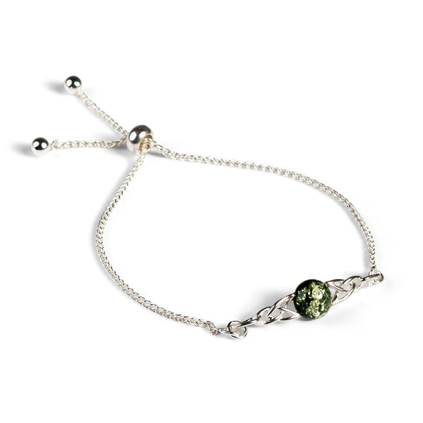 Celtic Style Adjustable Friendship Bracelet in Silver and Green Amber
