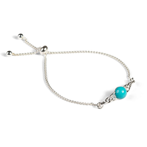 Celtic Style Adjustable Friendship Bracelet in Silver and Turquoise