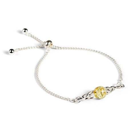 Celtic Style Adjustable Friendship Bracelet in Silver and Yellow Amber