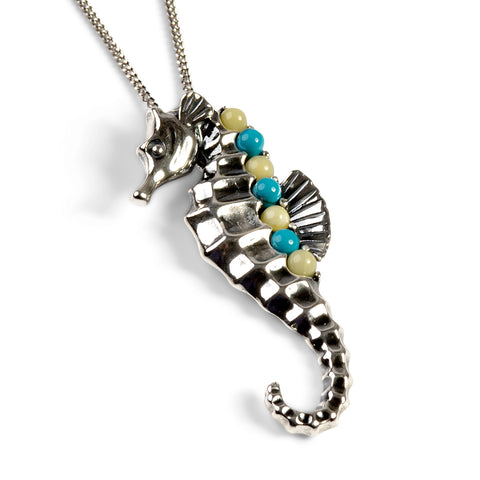 Large Seahorse Necklace in Silver, Turquoise and Amber