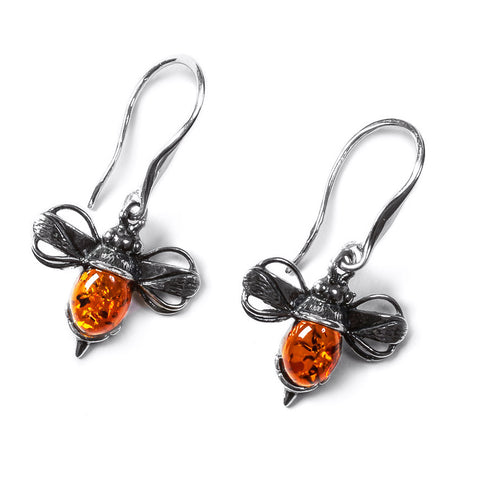 Bumble Bee Drop Earrings in Silver and Amber