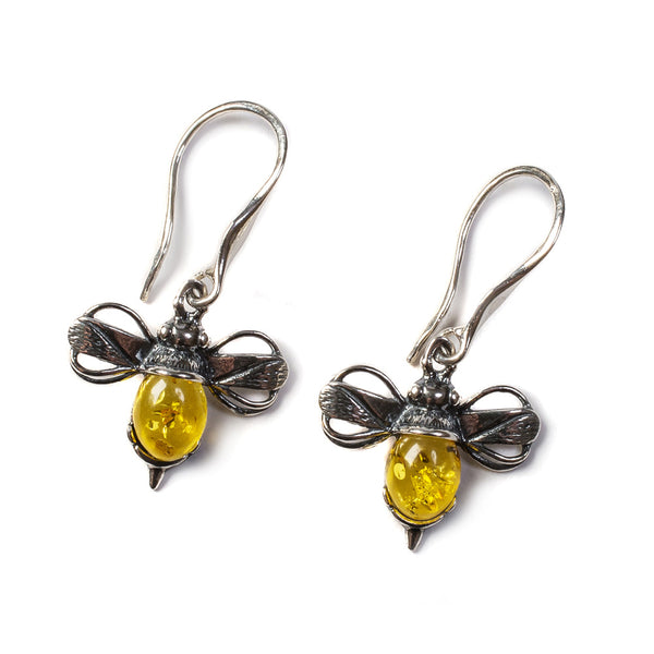 Bumble Bee / Bumblebee Drop Earrings in Silver and Yellow Amber