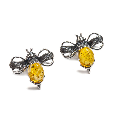 Bumblebee / Bumble Bee Stud Earrings in Silver and Yellow Amber