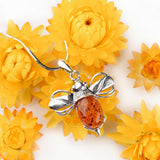 Large Bumble Bee Necklace in Silver and Amber