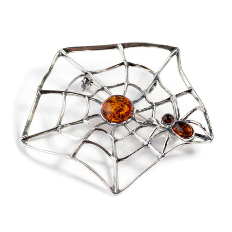 Spider on Web Brooch in Silver and Amber