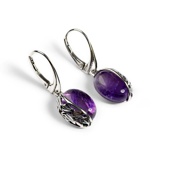 Amethyst Oval Earrings in Silver