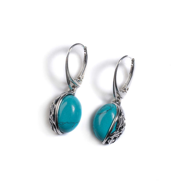 Turquoise Oval Earrings in Silver