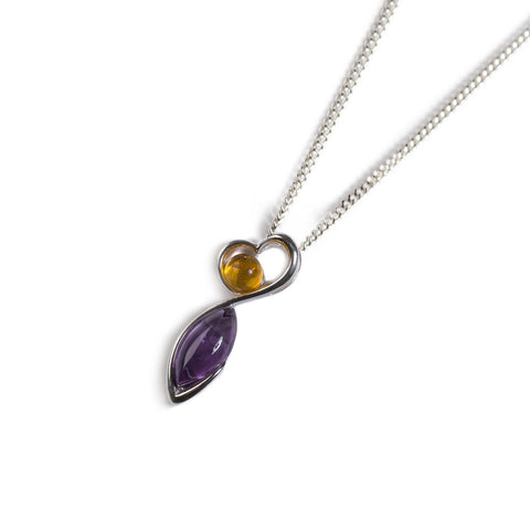 Amber & Amethyst Necklace set in Silver