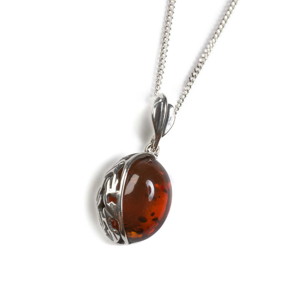 Cognac Amber Oval Necklace in Silver