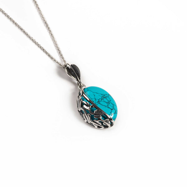 Oval Turquoise Necklace in Silver