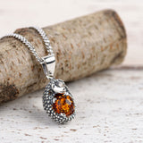 Hedgehog Necklace in Silver and Cognac Amber