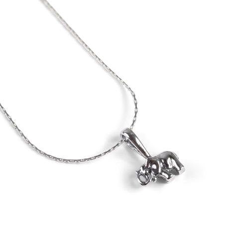 Tiny Elephant Necklace in Silver