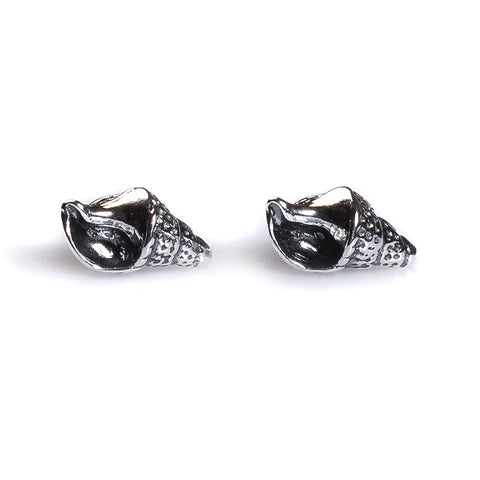 Seashell Stud Earrings in Silver