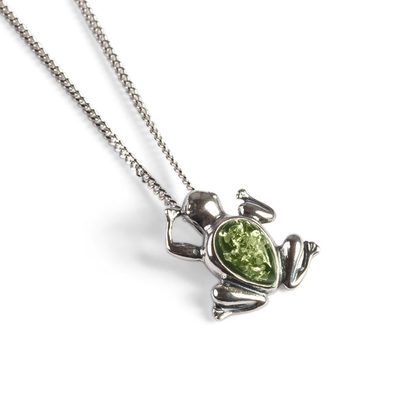 Miniature Frog Necklace in Silver and Green Amber