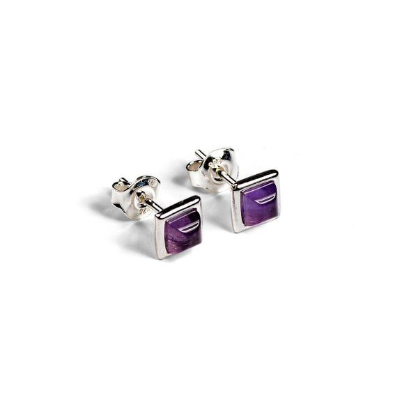 Square Stud Earrings in Silver and Amethyst