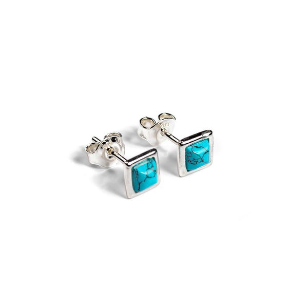 Square Stud Earrings in Silver and Turquoise
