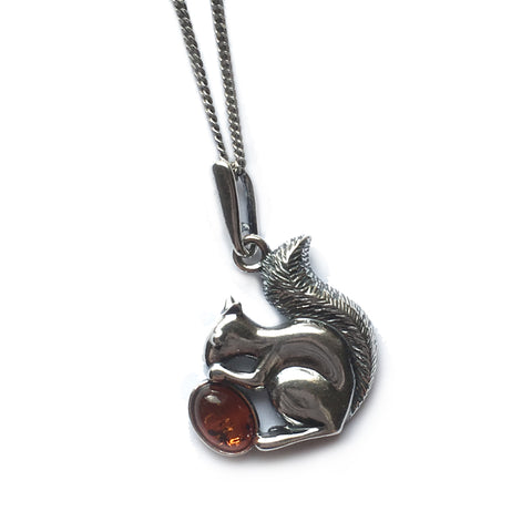 Squirrel Necklace in Silver and Cognac Amber