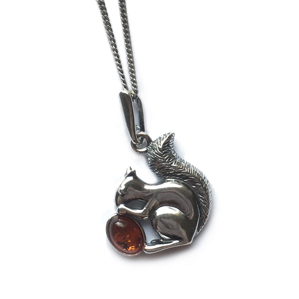 Squirrel With Acorn Necklace in Silver and Cognac Amber