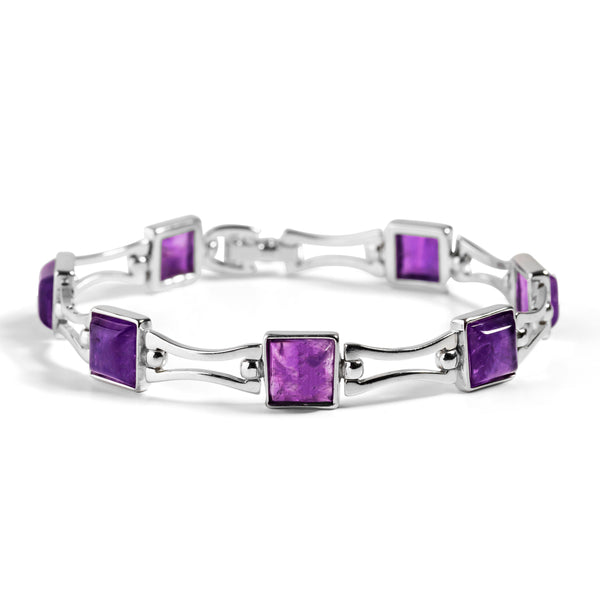 Square Link Bracelet in Silver and Amethyst