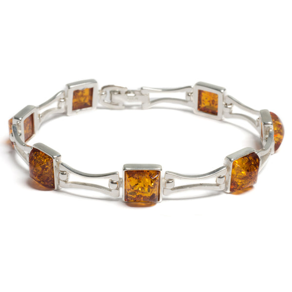 Square Link Bracelet in Silver and Amber