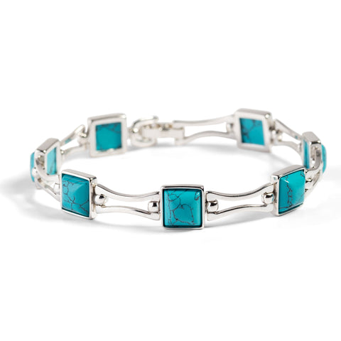 Square Link Bracelet in Silver and Turquoise