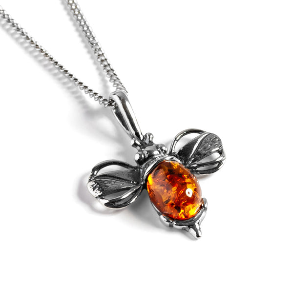 Miniature Bumble Bee Necklace in Silver and Amber