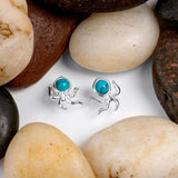 Octopus Stud Earrings in Silver and Turquoise