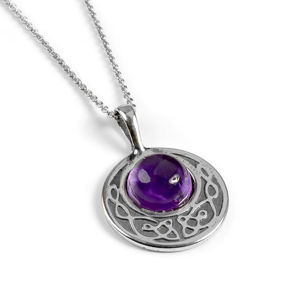 Celtic Circle Friendship Necklace in Silver and Amethyst