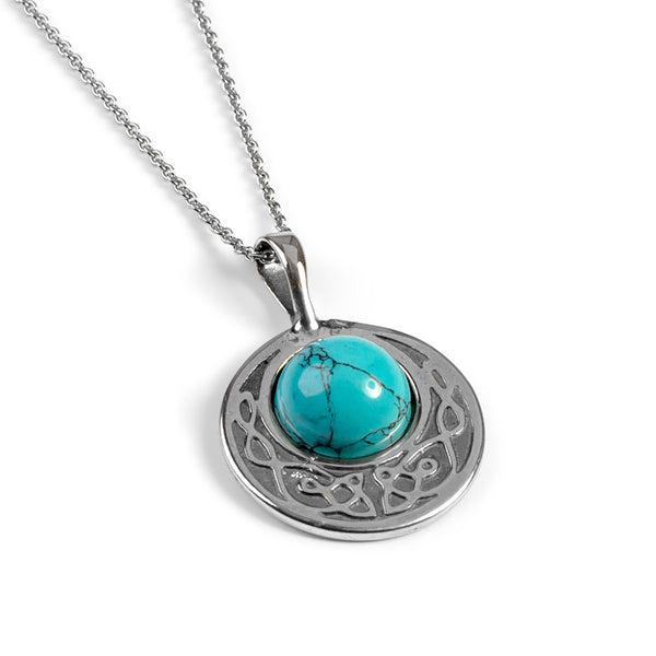 Celtic Circle Friendship Necklace in Silver and Turquoise