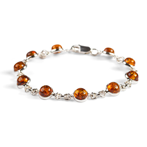 Circle Link Bracelet in Silver and Cognac Amber