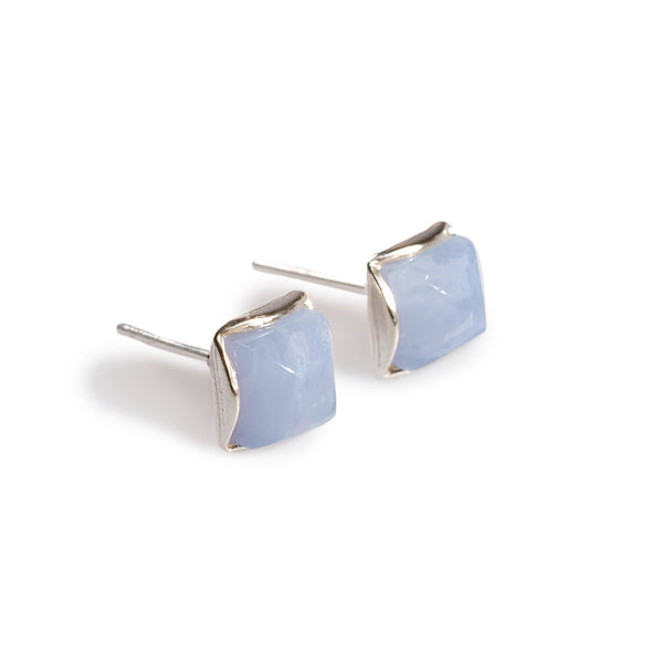 Small Square Stud Earrings in Silver and Blue Lace Agate